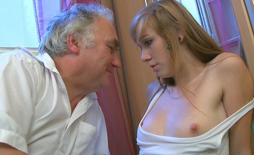 Old guy loves to bend this young babe over and get her panties off when her boyfriend isnt around