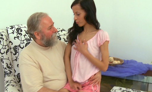 Super hot brunette gets fucked by bearded older guy